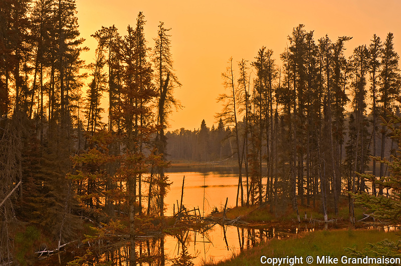 Sunrise across from Spray Lake<br />Duck Mountain Provincial Park<br />Manitoba<br />Canada