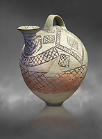 Cycladic askos with hatched painted decoration.  Cycladic III (2300-2000 BC) , Phylakopi, Melos. National Archaeological Museum Athens. Cat no 5826.   Gray background.<br /> <br /> <br /> Decorated pottery is rare during this Ccladic period. This Cycladic askos has vertical handle on top with a spout. It has painted decoration of hatched bands and a lozenge pattern