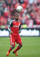 21 April 2012: Toronto FC defender Ashtone Morgan #5 in action during a game between the Chicago Fire and Toronto FC at BMO Field in Toronto..The Chicago Fire won 3-2....