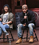 "Sasha Hollinger and Terrance Spencer during the ""Hamilton"" eduHAM Student Matinee Q & A  at the Richard Rodgers Theatre on February 13, 2019 in New York City."