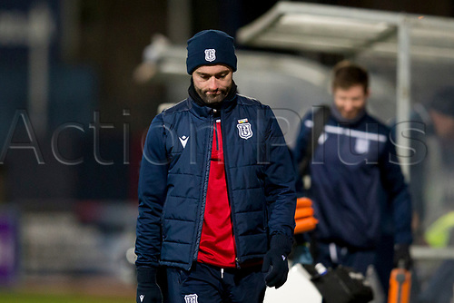 30th November 2019; Dens Park, Dundee, Scotland; Scottish Championship Football, Dundee Football Club versus Queen of the South; Dundee manager James McPake looks dejected at full time - Editorial Use