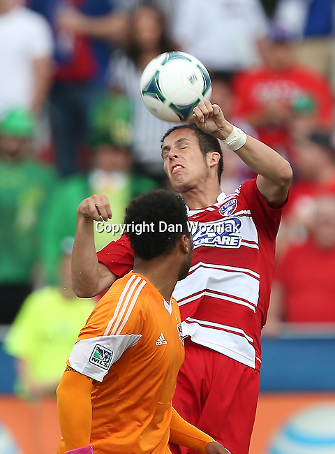 FC Dallas defender Matt Hedges (24) in action during the game between the FC Dallas and the Houston Dynamo at the FC Dallas Stadium in Frisco,Texas.