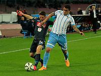 Dries Mertens  Mauricio durante l'incontro di ritorno della semifinale  Tim Cup tra     Napoli - Lazio allo  Stadio San Paolo  di Napoli ,08 Aprile  2015