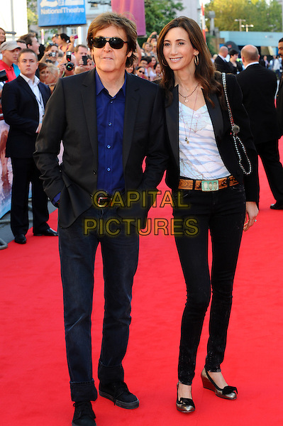 Paul McCartney & Nancy Shevell.Arrivals to the UK Premiere of 'George Harrison: Living In The Material World' at BFI Southbank, London, England..October 2nd, 2011.full length blue shirt jacket sunglasses shades white top jeans denim hands in pockets couple black.CAP/CJ.©Chris Joseph/Capital Pictures.