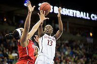 SPOKANE, WA - MARCH 30, 2013: Chiney Ogwumike puts in two during the third round NCAA Championships game matching Stanford vs Georgia at the Spokane Arena. The Cardinal fell to the Bulldogs 61-59.