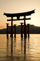 The dramatic torii of Itsukushima Shrine is one of Japan's most popular attractions. The gate has existed since 1168, though the current gate dates back to 1875. The gate is built of camphor wood and was built with four legs to provide additional stability. The gate only appears to be floating and only at high tide -  when the tide is low the gate is surrounded by mud and not quite as spectacular.  Retaining the purity of the island is so important that no deaths or births were permitted in the area.