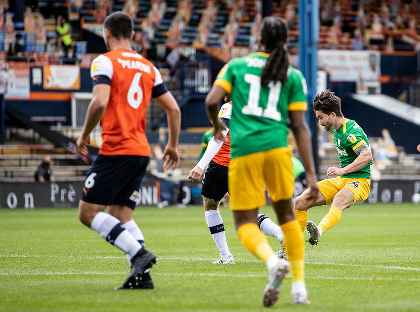 Preston North End's Sean Maguire (right) shoots at goal <br /> <br /> Photographer Andrew Kearns/CameraSport<br /> <br /> The EFL Sky Bet Championship - Luton Town v Preston North End - Saturday 20th June 2020 - Kenilworth Road - Luton<br /> <br /> World Copyright © 2020 CameraSport. All rights reserved. 43 Linden Ave. Countesthorpe. Leicester. England. LE8 5PG - Tel: +44 (0) 116 277 4147 - admin@camerasport.com - www.camerasport.com