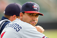 Fernando De Los Santos #1 of the Rome Braves during the South Atlantic League game against the Kannapolis Intimidators at CMC-Northeast Stadium on August 5, 2012 in Kannapolis, North Carolina.  The Intimidators defeated the Braves 9-1.  (Brian Westerholt/Four Seam Images)