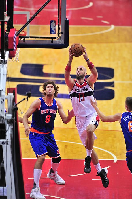 Wizards Marcin Gortat goes up for a layup. New York defeated Washington 115-104 during a NBA preseason game at the Verizon Center in Washington, D.C. on Friday, October 9, 2015.  Alan P. Santos/DC Sports Box