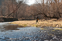 Fishing the Green River a trout stream in the Driftless Area of southwestern Wisconsin.