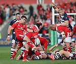 Conor Murray of Munster clears the ball - European Rugby Champions Cup - Sale Sharks vs Munster -  AJ Bell Stadium - Salford- England - 18th October 2014  - Picture Simon Bellis/Sportimage