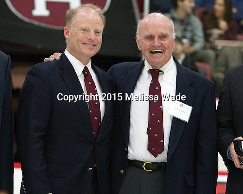 """Harvard held a ceremony between the first and second periods to announce the William """"Bill"""" J. Cleary '56 Harvard Ice Hockey Endowment."""