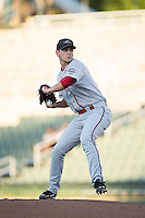 Greenville Drive starting pitcher Austin Glorius (24) in action against the Kannapolis Intimidators at Intimidators Stadium on June 7, 2016 in Kannapolis, North Carolina.  The Drive defeated the Intimidators 5-2 in game two of a double header.  (Brian Westerholt/Four Seam Images)