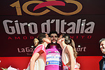 Fernando Gaviria (COL) Quick-Step Floors retains the points Maglia Ciclamino at the end of Stage 16 of the 100th edition of the Giro d'Italia 2017, running 222km from Rovetta to Bormio, Italy. 23rd May 2017.<br /> Picture: LaPresse/Massimo Paolone | Cyclefile<br /> <br /> <br /> All photos usage must carry mandatory copyright credit (&copy; Cyclefile | LaPresse/Massimo Paolone)