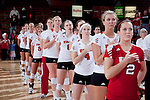 Wisconsin Badgers Volleyball teammates line up during the National Anthem prior to an NCAA volleyball match against the Michigan Wolverines at the Field House on October 30, 2010 in Madison, Wisconsin. Michigan won the match 3-1. (Photo by David Stluka)