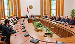 A handout picture released by the Egyptian Presidency on April 22, 2019 shows Egyptian President Abdel Fattah al-Sisi meeting with the Arab ministers of youth and sports, in Cairo. Photo by Egyptian President Office