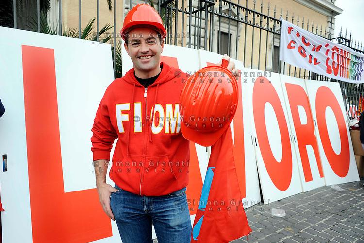 Roma  16 Ottobre 2010.Manifestazione nazionale della FIOM sindacato dei metalmeccanici, contro la crisi economica..Rome 16 October 2010.National demonstration of the FIOM metalworkers' union, against the economic crisis.
