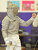 Patrick Gao of Great Neck North reacts after scoring a point against Donal Mahoney of Garden City in the Nassau County boys' fencing saber final at Oyster Bay High School on Saturday, Jan. 30, 2016. Gao won 15-11 to claim the county title.