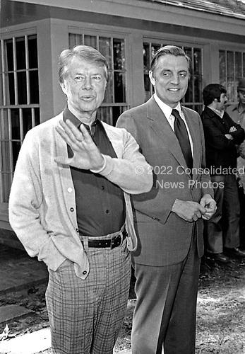 "United States President-elect Jimmy Carter, left, and US Vice President Walter Mondale, right, meet in Plains, Georgia prior to a post-election press conference on November 4, 1976.  <br /> Credit: Benjamin E. ""Gene"" Forte / CNP"
