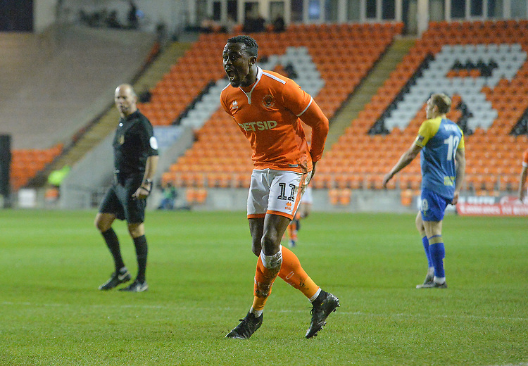Blackpool's Joe Dodoo celebrates scoring his team's 2nd goal<br /> <br /> Photographer Dave Howarth/CameraSport<br /> <br /> The Emirates FA Cup Second Round Replay - Blackpool v Solihull Moors - Tuesday 18th December 2018 - Bloomfield Road - Blackpool<br />  <br /> World Copyright © 2018 CameraSport. All rights reserved. 43 Linden Ave. Countesthorpe. Leicester. England. LE8 5PG - Tel: +44 (0) 116 277 4147 - admin@camerasport.com - www.camerasport.com