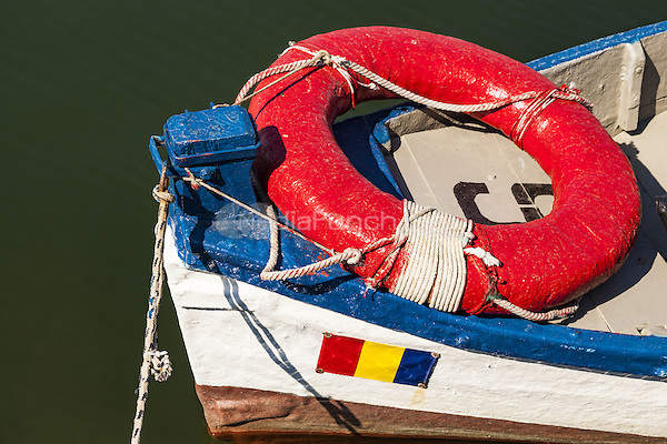 Red life belt and blue and white boat, Constanta, Romania   June 2015<br /> CAP/MEL<br /> &copy;MEL/Capital Pictures /MediaPunch ***NORTH AND SOUTH AMERICA ONLY***