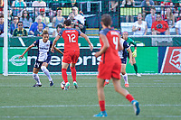 Portland, OR - Saturday July 22, 2017: Estelle Johnson, Christine Sinclair during a regular season National Women's Soccer League (NWSL) match between the Portland Thorns FC and the Washington Spirit at Providence Park.