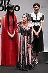 September 9, 2017, Tokyo, Japan - Japanese singer Mika Nakashima speaks after she performed hundreds of shoppers at the opening ceremony for the Vogue Fashion's Night Out 2017 in Tokyo on Saturday, September 9, 2017. Some 630 shops participated one-night fashion shopping event in Tokyo. (Photo by Yoshio Tsunoda/AFLO) LWX -ytd-