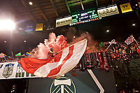 Portland, OR - Saturday May 06, 2017: Portland Thorns FC supporters during a regular season National Women's Soccer League (NWSL) match between the Portland Thorns FC and the Seattle Reign FC at Providence Park.