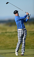Ex Cricketer Michael Vaughan tees off during Round 1 of the 2015 Alfred Dunhill Links Championship at the Old Course, St Andrews, in Fife, Scotland on 1/10/15.<br /> Picture: Richard Martin-Roberts | Golffile