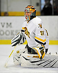 19 January 2008: University of Vermont Catamounts' goaltender Mike Spillane, a Sophomore from Bow, NH, warms up prior to a game against the Northeastern University Huskies at Gutterson Fieldhouse in Burlington, Vermont. The Catamounts defeated the Huskies 5-2 to close out their 2-game weekend series...Mandatory Photo Credit: Ed Wolfstein Photo