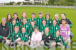 6286- 6289.FOOTBALL: Playing in the Coiste Trali Under 13 Football Blitz at Na Gaeil GAA Grounds, Killeen, on Saturday were the girls from Churchill. Front row l-r: Maureen McCarthy, Jamie O'Carroll, Katie McCarthy, Lynn Cosgrove and Allana McCarthy. 2nd row l-r: Barbara Cosgrove (Trainer), Clodagh Carmody, Sadhbh Lawlor, Clodagh Carmody, Erin Donnellan, Gabrielle Browne and Michaela Lynch. Back row l-r: Nicole Farrelly, Sarah Kate Daly, Maeve Ellen O'Brien, Denise O'Sullivan, Denise Williams, Eva Phelan, Judy Walsh and Margaret O'Sullivan.