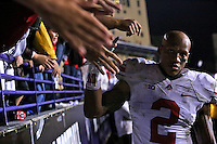 Ohio State Buckeyes linebacker Ryan Shazier (2) gives high fives to fans following their win against the Northwestern Wildcats at Ryan Field in Evanston, IL on October 5, 2013. Columbus Dispatch photo by Brooke LaValley)