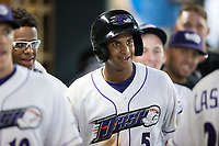 Johan Cruz (5) of the Winston-Salem Dash is all smiles after scoring a run during the game against the Myrtle Beach Pelicans at BB&T Ballpark on May 11, 2017 in Winston-Salem, North Carolina.  The Pelicans defeated the Dash 9-7.  (Brian Westerholt/Four Seam Images)