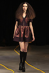 Lou (Red Models) walks runway in an outfit from the Saunder Fall Winter 2016 collection by Emily Saunders during New York Fashion Week Fall 2016.