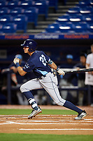 Charlotte Stone Crabs designated hitter Josh Lowe (28) hits a single during the second game of a doubleheader against the St. Lucie Mets on April 24, 2018 at First Data Field in Port St. Lucie, Florida.  St. Lucie defeated Charlotte 5-3.  (Mike Janes/Four Seam Images)