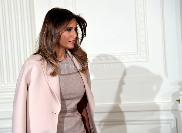 First lady Melania Trump enters the room prior to United States President Donald J. Trump announcing he will name Principal Deputy White House Chief of Staff Kirstjen Nielsen as Secretary of Homeland Security in the East Room of the White House in Washington, DC on Thursday, October 12, 2017.  If confirmed, Nielsen will replace Acting US Secretary of Homeland Security Elaine C. Duke, who has been in that position since General John F. Kelly, USMC (Retired) resigned to become White House Chief of Staff.<br /> Credit: Ron Sachs / CNP /MediaPunch