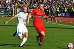 10.08.2019, Donaustadion, Ulm, GER, DFB Pokal, SSV Ulm 1846 Fussball vs 1. FC Heidenheim, <br /> DFL REGULATIONS PROHIBIT ANY USE OF PHOTOGRAPHS AS IMAGE SEQUENCES AND/OR QUASI-VIDEO, <br /> im Bild Marcel Schmidts (Ulm, #15), Robert Leipertz (Heidenheim, #13)<br /> <br /> Foto © nordphoto / Hafner