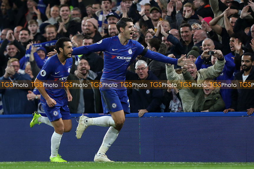 Alvaro Morata celebrates scoring Chelsea's opening goal with Pedro during Chelsea vs Crystal Palace, Premier League Football at Stamford Bridge on 4th November 2018