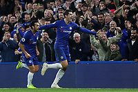 Alvaro Morata celebrates scoring Chelsea's opening goal with Pedro during Chelsea vs Crystal Palace, Premier League Football at Stamford Bridge on 4th November 2018