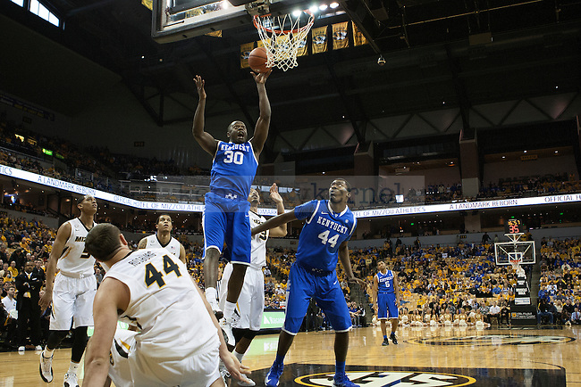 Kentucky Wildcats forward Julius Randle (30) scores two of his points in the first half during the game between the University of Kentucky men's basketball team and University of Missouri in Columbia, Ky.,on Saturday, February 1, 2014. Kentucky defeated Missouri 84-79. Photo by Michael Reaves | Staff