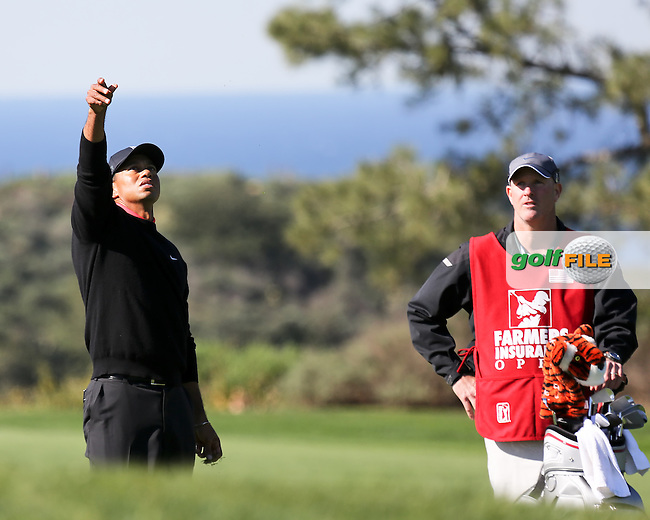 28 JAN 13  Eventual Champion Tiger Woods checks the gusty wind  during Sunday's Final Round of The Farmers Insurance Open at Torrey Pines Golf Course in La Jolla, California. (photo:  kenneth e.dennis / kendennisphoto.com)