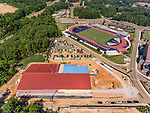 Construction is well underway on Ole Miss's new tennis facility. The new tennis complex will be a two-story, 52,000 sq. ft. building with 6 indoor courts and seating for 300 spectators. Photo by Robert Jordan/Ole Miss Communications