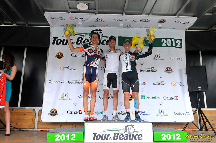 Ryan Roth on the podium after Stage 1 of the UCI 2.2 Tour de Beauce. Lac-Etchemin-Lac-Etchemin. June 12, 2012. Photo by Brian Hodes/VeloImages