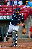 Cedar Rapids Kernels catcher David Banuelos (15) throws down to third base between innings during a Midwest League game against the Bowling Green Hot Rods on May 2, 2019 at Perfect Game Field in Cedar Rapids, Iowa. Bowling Green defeated Cedar Rapids 2-0. (Brad Krause/Four Seam Images)