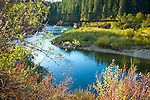 Idaho, North, St. Maries. A bridge over the St. Joe River in early autumn.