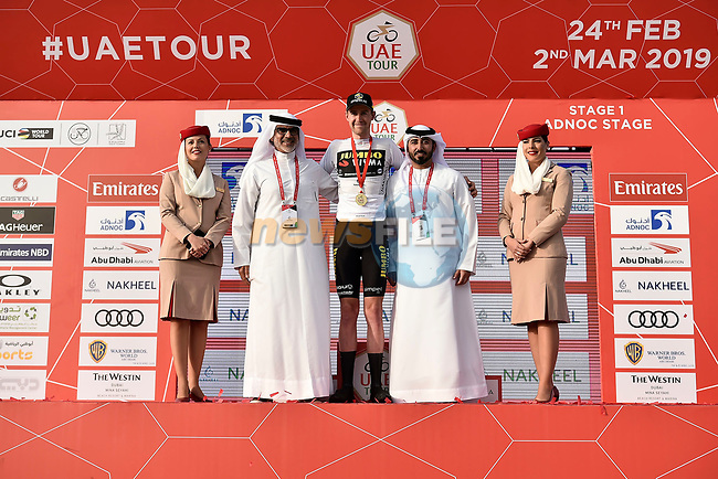 Laurens De Plus (BEL) Team Jumbo-Visma goes into the White Jersey at the end of Stage 1 of the 2019 UAE Tour, a team time trial running 16km around Al Hudayriat Island, Abu Dhabi, United Arab Emirates. 24th February 2019.<br /> Picture: LaPresse/Fabio Ferrari | Cyclefile<br /> <br /> <br /> All photos usage must carry mandatory copyright credit (© Cyclefile | LaPresse/MFabio Ferrari)