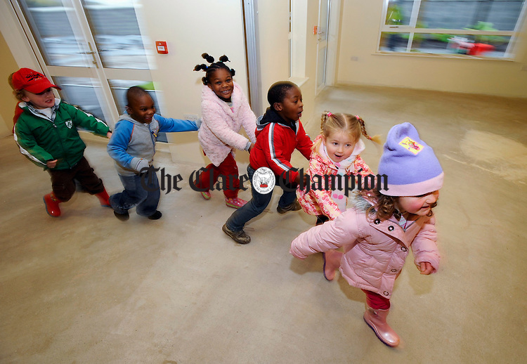 Children having fun as they check out their new facility at the Clare Family Resource Centre's new creche at Watery Road Ennis. Photograph by John Kelly.