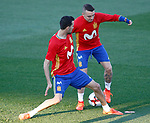 Spain's Iago Aspas (r) and Sergio Busquets during training session. March 20,2017.(ALTERPHOTOS/Acero)