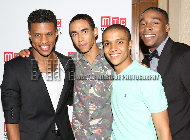 Jeremy Pope, Kyle Beltran, Nicholas L. Ashe and Grantham Coleman attending the Opening Night Celebration for the MTC American Premiere of 'Choir Boy' at Inside Park at St. Bart's on July 2, 2013 in New York City.