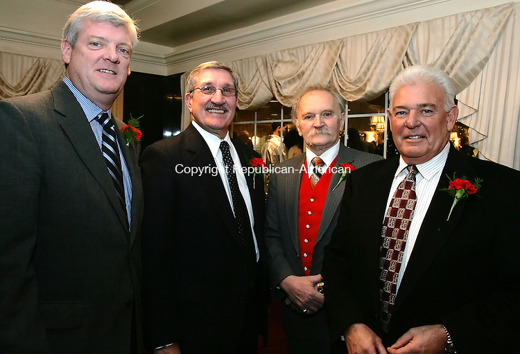 SOUTHINGTON, CT -09 January 2005 -010906JS04--- Award recipents, from left, Ned Cullinan, Bill Gargano, Red Kelly and Jack Nocera were honored during the Waterbury Olympian Club's annual awards ceremony Monday at the Aqua Turf Club in Southington.--  Jim Shannon Republican American --  Ned Cullinan; Bill Gargano; Red Kelly and Jack Nocera, Waterbury Olympian Club are CQ